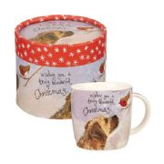 Alex Clark Dog & Robin Christmas Mug in Gift Box